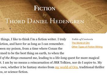 The Fiction page's sub menu