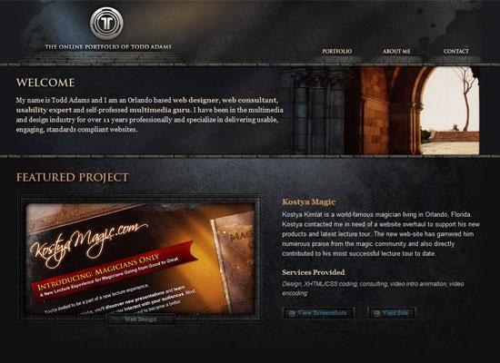 Online Portfolio of Orlando Web Designer Todd Adams | 61Pixels.com