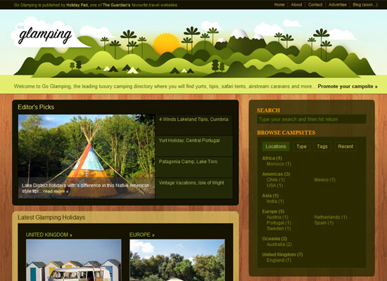 Go Glamping website screenshot