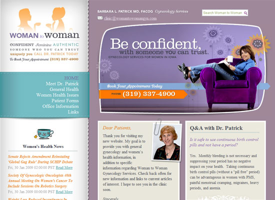 Woman to Woman Gynecology website screenshot