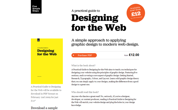 Landing page for the Designing for the Web book.