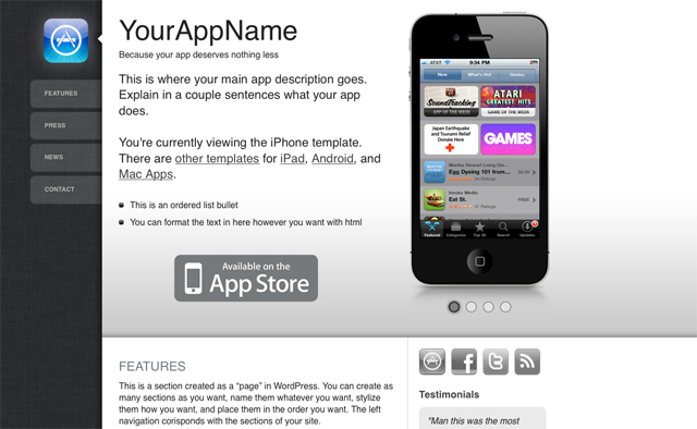 WordPress Themes iPhone Apps
