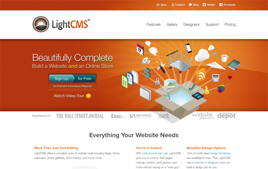 LightCMS website