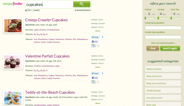 Cupcake Search Results