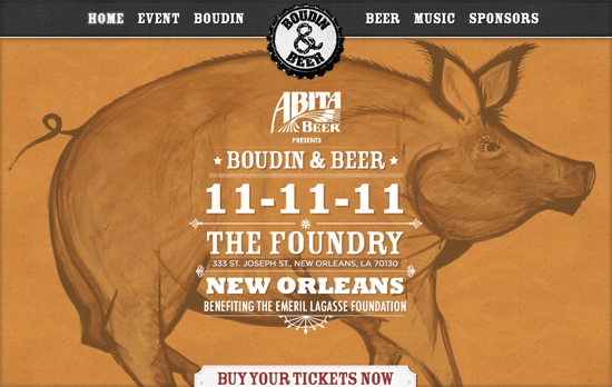 Abita Beer Presents Boudin & Beer website