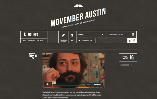 Movember Austin website