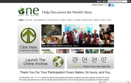 One Day on Earth website