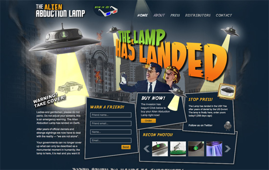 Alien Abduction Lamp website