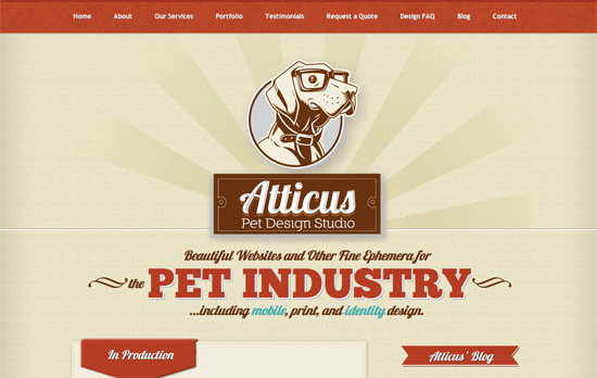 Atticus Pet Design Studio website