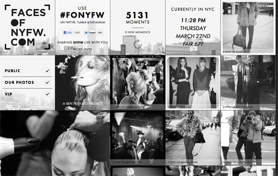 Faces of New York Fashion Week website