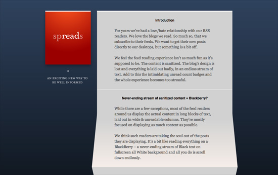 Spreads for iPad website