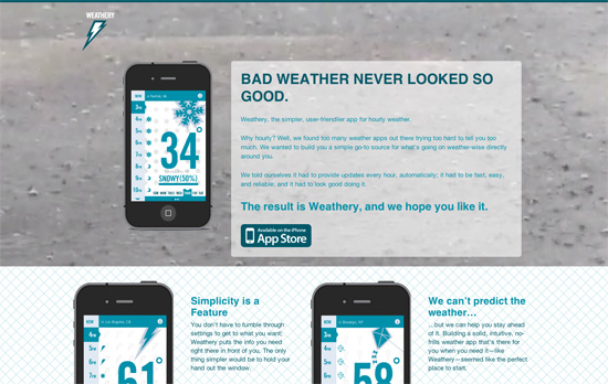 Weathery for iPhone website