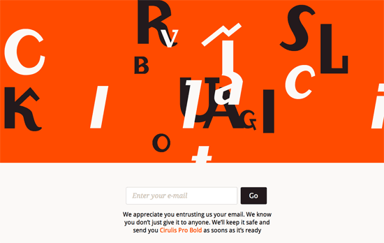Cirulis Typeface website