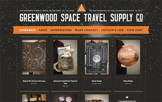Greenwood Space Travel Supply Co. website