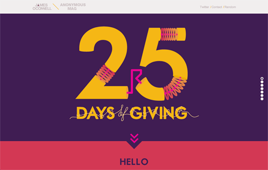 James Oconnell x 25 Days of Giving website