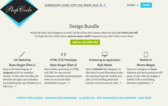 PeepCode Screencasts Design Bundle website