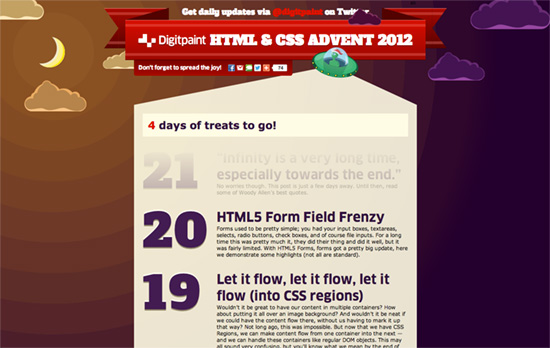HTML and CSS Advent 2012 by Digitpaint