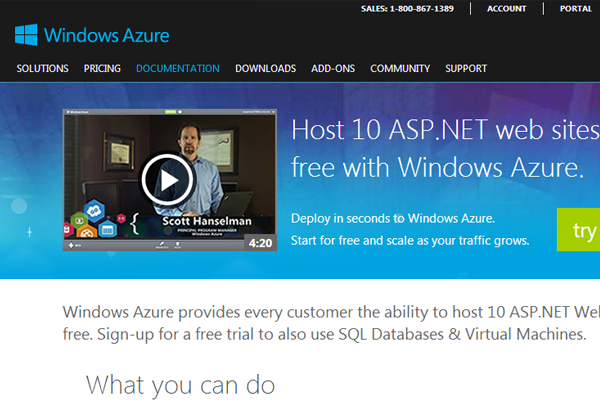 asp.net web hosting through Microsoft Windows Azure